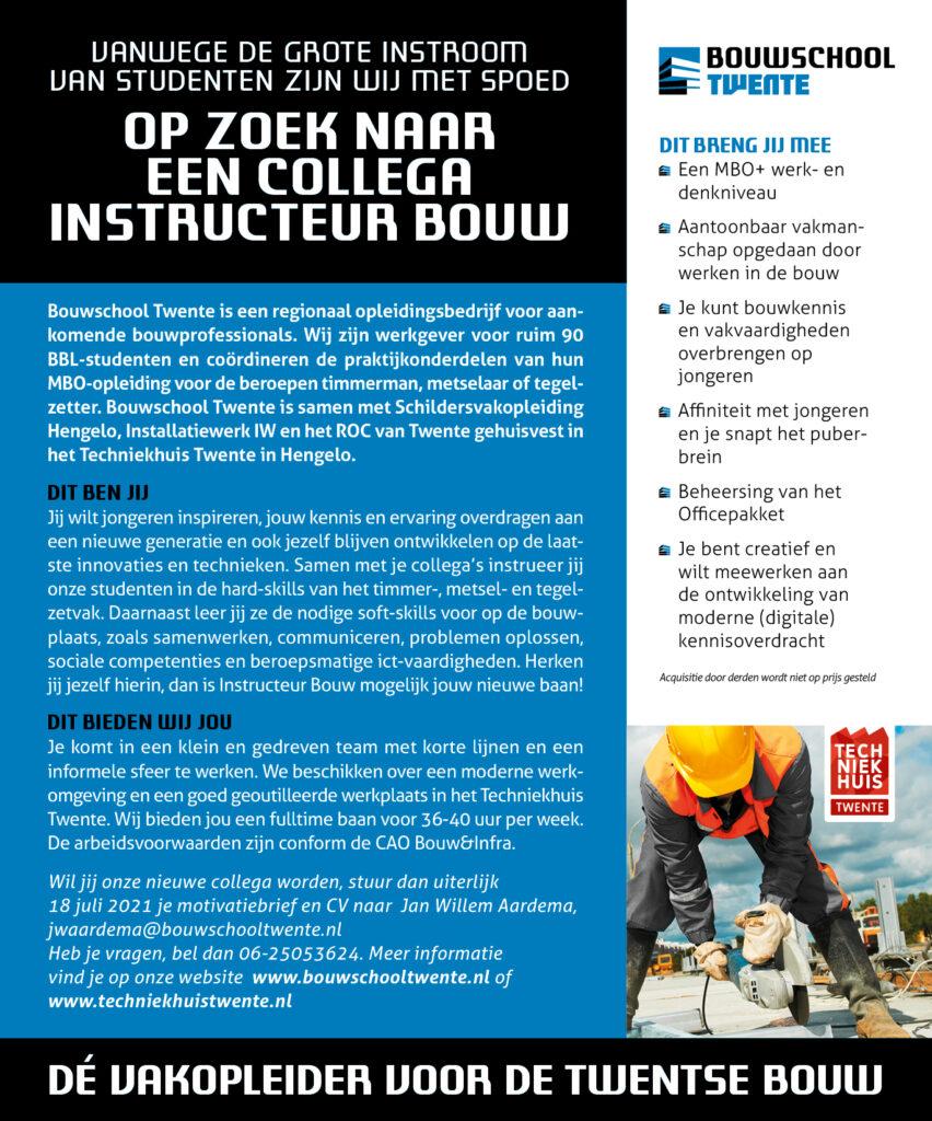 Vacature instructeur bouw - Bouwschool Twente